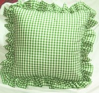 Lime Green Gingham Check Accent Pillow with Removable Ruffled Edge Cover (available in 16x16 or 18x18)