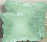 Mint Green-Seafoam Satin Ruffled Edge Throw Pillow Cover with Pillow Insert (available in 16x16 or 18x18)
