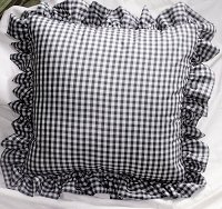 Navy Blue Gingham Check Accent Pillow with Removable Ruffled Edge Cover (available in 16x16 or 18x18)