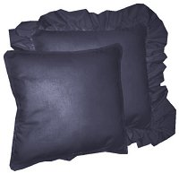 Solid Navy Blue Colored Accent Pillow with Removable Ruffled or Corded Edge (in 16x16 or 18x18)