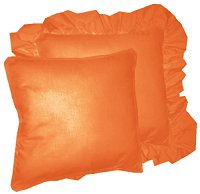 Solid Orange Colored Accent Pillow with Removable Ruffled or Corded Edge (in 16x16 or 18x18)