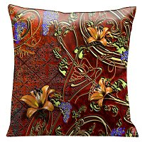 Lama Kasso Pillow #104, Tiger Lilies and Grapes Surrounded by Gold Filigree on a Burnt Sienna Background 18″x18″ Satin Accent Pillow
