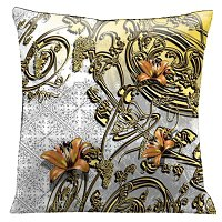Lama Kasso Pillow #108, Orange Tiger Lilies Entwined with Gold Filigree on an Antique White Background 18″x18″ Satin Accent Pillow