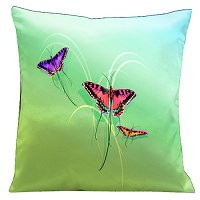 Lama Kasso Pillow #10, Butterflies Set on a Soft Green Background 18″ Square Satin Accent Pillow