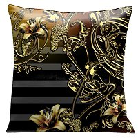 Lama Kasso Pillow #118S, Old Gold Iron Lace Work and Flowers on a Wonderful Black and Soft Gray Striped Background 18″x18″ Micro-Suede Accent Pillow