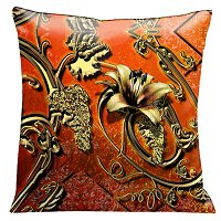 Lama Kasso Pillow #119S, Rolled Gold Iron Work on a Deep Soft Orange Filigree Background 18″ Square Micro-Suede Accent Pillow