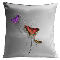 Lama Kasso Pillow #11, Butterflies Set on a Soft Black to Silver White Background 18″x18″ Satin Accent Pillow