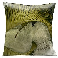 Lama Kasso Pillow #1250S, Antique Green Ferns Against a White Marble Background 18″ Square Micro-Suede Accent Pillow