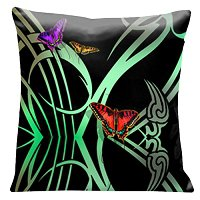 Lama Kasso Pillow #12, Butterflies with Green Art Deco Accents on a Black Background 18″ Square Satin Accent Pillow
