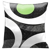 Lama Kasso Pillow #1451, Get the Loft Look with Metallic Grays and a splash of Green 18″ Square Satin Accent Pillow