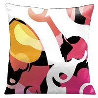 Lama Kasso Pillow #1499, Modern Loft Look Warm Pinks with White and Black Accents 18″ Square Satin Accent Pillow