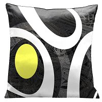 Lama Kasso Pillow #1501, Modern Loft Look White and Yellow on Multi Gray Background 18″ Square Satin Accent Pillow