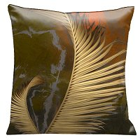 Lama Kasso Pillow #157S, Antique Gold Ferns on Rich Olive Green Background 18″ Square Micro-Suede Accent Pillow