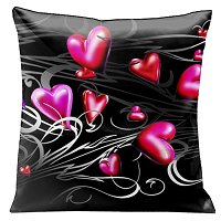 Lama Kasso Pillow #161, Pink and Red Hearts Floating on Black with Silver Grey Scrolls 18″ x 18″ Satin Accent Pillow