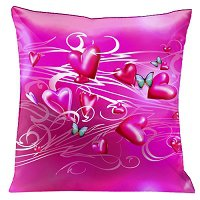 Lama Kasso Pillow #164, Romance Abounds with Beautiful Miniature Butterflies Flying Over a Pink Sea of Pink Hearts 18″ x 18″ Satin Accent Pillow