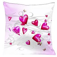 Lama Kasso Pillow #165, Butterflies and Hearts Floating Across a Soft White and Baby Pink Background 18″ x 18″ Satin Accent Pillow