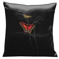 Lama Kasso Pillow #16, Beautiful Red and Orange Butterflies Against a Solid Black Background 18″ Square Satin Accent Pillow