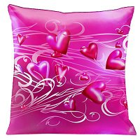 Lama Kasso Pillow #171, Hot Pink on Pink with White and Pink Scrolls 18″ x 18″ Satin Accent Pillow
