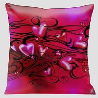 Lama Kasso Pillow #172, Romantic Red on Red with Midnight Black Scrolls 18″ x 18″ Satin Accent Pillow
