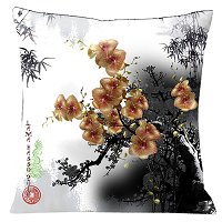 Lama Kasso Pillow #180, Orange Tiger Orchids Accented with Black Bamboo on a Silver White Background 18″ Square Satin Accent Pillow