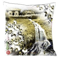Lama Kasso Pillow #182, Antique White Emperor″s Palace and Waterfall with Gold and Black Accents 18″ Square Satin Accent Pillow