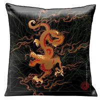 Lama Kasso Pillow #186, Classic Red Dragon Flying Across a Black Sky 18″ Square Satin Accent Pillow