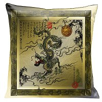 Lama Kasso Pillow #192, Incredible Black Dragon on Antique Gold Background with Black Oriental Border 18″ Square Satin Accent Pillow