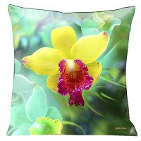 Lama Kasso Pillow #195, Yellow Orchids on a Beautiful Green Background 18″ Square Satin Accent Pillow