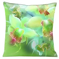 Lama Kasso Pillow #196, Pale Green Oriental Orchids on a Beautiful Green Background 18″ Square Satin Accent Pillow