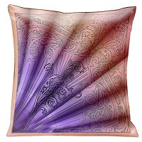 Lama Kasso Pillow #200-1, Parisian Fan Design in Tangerine Shades of Pink and Mauve 18″ Square Satin Accent Pillow