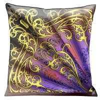 Lama Kasso Pillow #200-2, Incredibly Beautiful Purple, Pink and Gold Parisian Fan Reminiscent of Musical Notes 18″ Square Satin Accent Pillow