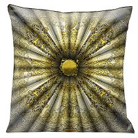 Lama Kasso Pillow #200-4, Old World Elegance Silver and Burnished Gold Parisian Antique Design 18″ Square Satin Accent Pillow