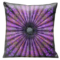 Lama Kasso Pillow #200-5, Beautiful Elegant Purple, Pink and Black Parisian Antique Design 18″ Square Satin Accent Pillow