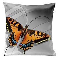 Lama Kasso Pillow #0210, Large Butterfly on a Silver Transitioning to Black Background 18″ Square Satin Accent Pillow