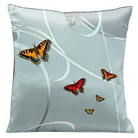 Lama Kasso Pillow #21, Butterflies and Scrolls on Glass Color Background 18″ Square Satin Accent Pillow