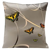 Lama Kasso Pillow #23A, Butterflies and Scrolls with sunset accents on Bronze Background 18″ Square Satin Accent Pillow