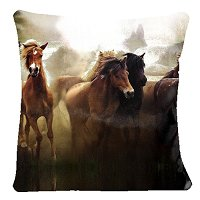 Lama Kasso Pillow #340S, Stampeding Horses 18″ Square Micro-Suede Accent Pillow