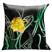 Lama Kasso Pillow #3, Exciting Yellow Tiger Lilly with Green Art Deco Accents on Black 18″ Square Satin Accent Pillow