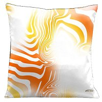 Lama Kasso Pillow #42, Summer Orange and Yellow Graphics on Crisp White Background 18″ Square Satin Accent Pillow