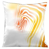 Lama Kasso Pillow #43, Summer Orange and Yellow Graphics on Crisp White Background 18″ Square Satin Accent Pillow