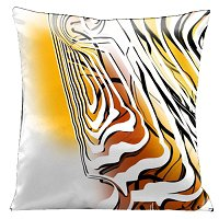Lama Kasso Pillow #44, Be Different with Reverse White and Black Graphics on Yellow, Orange and White 18″ Square Satin Accent Pillow