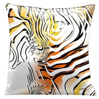 Lama Kasso Pillow #45, Stunning Yellow, Orange and White with Black and White Graphics 18″ Square Satin Accent Pillow
