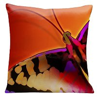 Lama Kasso Pillow #501, Large Butterfly on a Red Transitioning to Orange Background 18″ Square Satin Accent Pillow