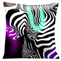 Lama Kasso Pillow #50, Contemporary White Graphics on Amazing Black, Purple and Peppermint Green background 18″ Square Satin Accent Pillow