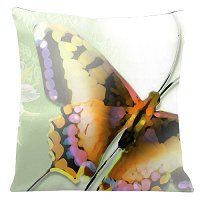 Lama Kasso Pillow #522, Large Butterfly on a Light Green Transitioning to White Background 18″ Square Satin Accent Pillow