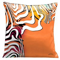 Lama Kasso Pillow #53, Orange Fiesta Time with White Graphics 18″ Square Satin Accent Pillow