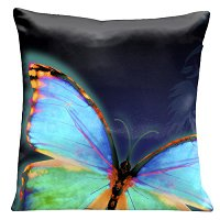 Lama Kasso Pillow #542, Large Butterfly on a Dark Blue Transitioning to Black Background 18″ Square Satin Accent Pillow