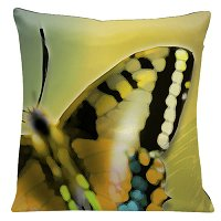 Lama Kasso Pillow #562, Large Butterfly on a Light Avocado Green Transitioning to Light Gold Background 18″ Square Satin Accent Pillow