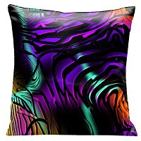 Lama Kasso Pillow #56, Mystery at Midnight, Black Swirls Over Deep Purple, Orange and Green 18″ Square Satin Accent Pillow