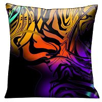 Lama Kasso Pillow #57, Black Graphics Swirling Over Orange, Yellow and Purple 18″ Square Satin Accent Pillow